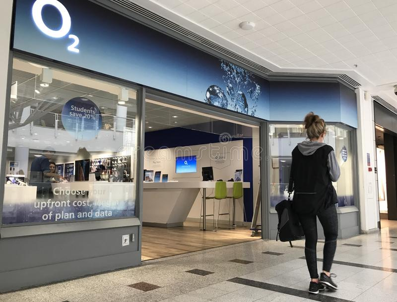 O2 store in London. Telefónica UK Limited trading as O2 – stylised as O2 is a telecommunications services provider in the United Kingdom, owned by the royalty free stock photo