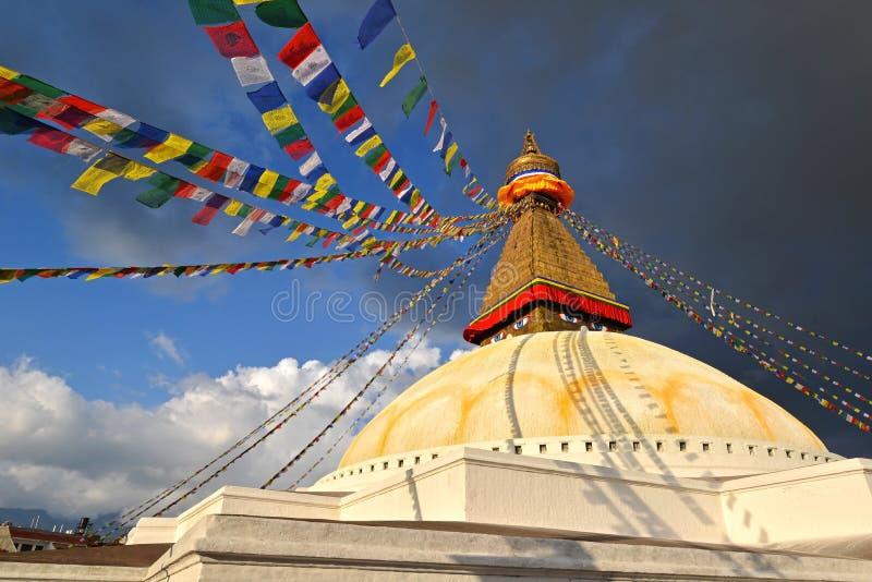 O stupa budista santamente de Swayambhunath. Kathmandu, Nepal fotos de stock royalty free