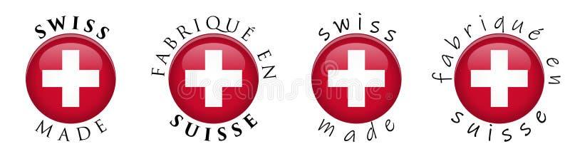 O suíço simples fez/sinal francês do botão da tradução 3D Arou do texto ilustração stock