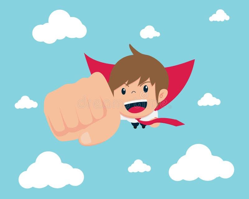 O sucesso do homem 02 do salário e o lucro obtido O homem de negócio super do homem 02 do salário está voando no céu ilustração stock