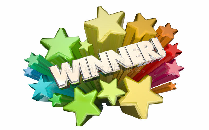 O sucesso do vencedor ganhou as estrelas 3d Wor do jogo da competição da loteria da competição ilustração royalty free