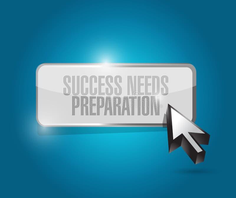 o sucesso precisa o conceito do sinal do botão da preparação ilustração stock