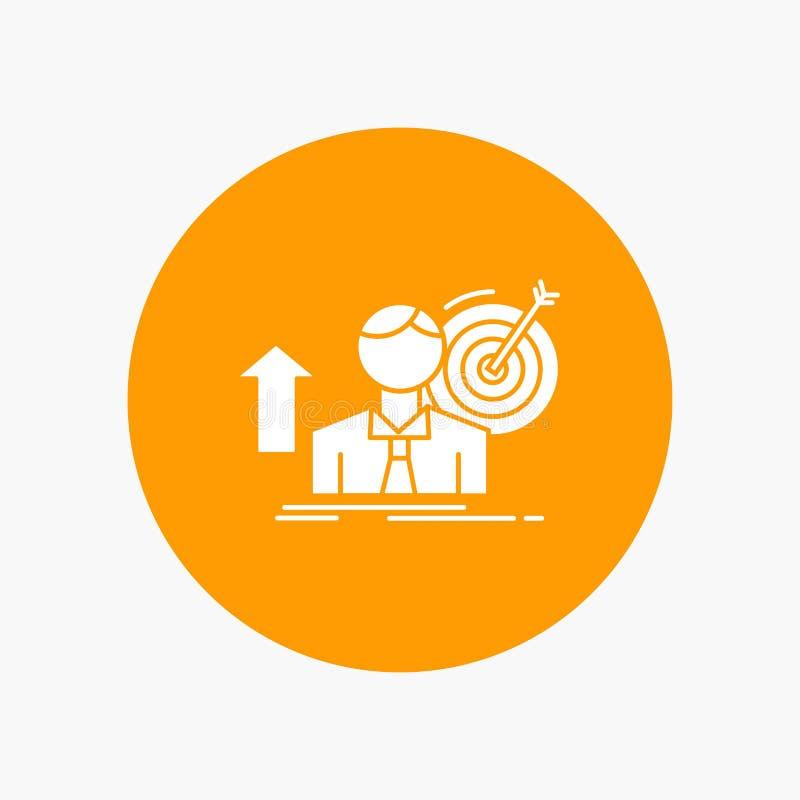 o sucesso, usuário, alvo, consegue, o ícone branco do Glyph do crescimento no círculo Ilustra??o do bot?o do vetor ilustração stock