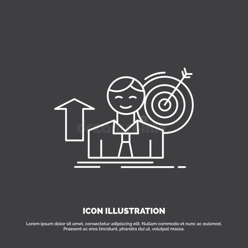 o sucesso, usuário, alvo, consegue, ícone do crescimento Linha s?mbolo do vetor para UI e UX, Web site ou aplica??o m?vel ilustração stock