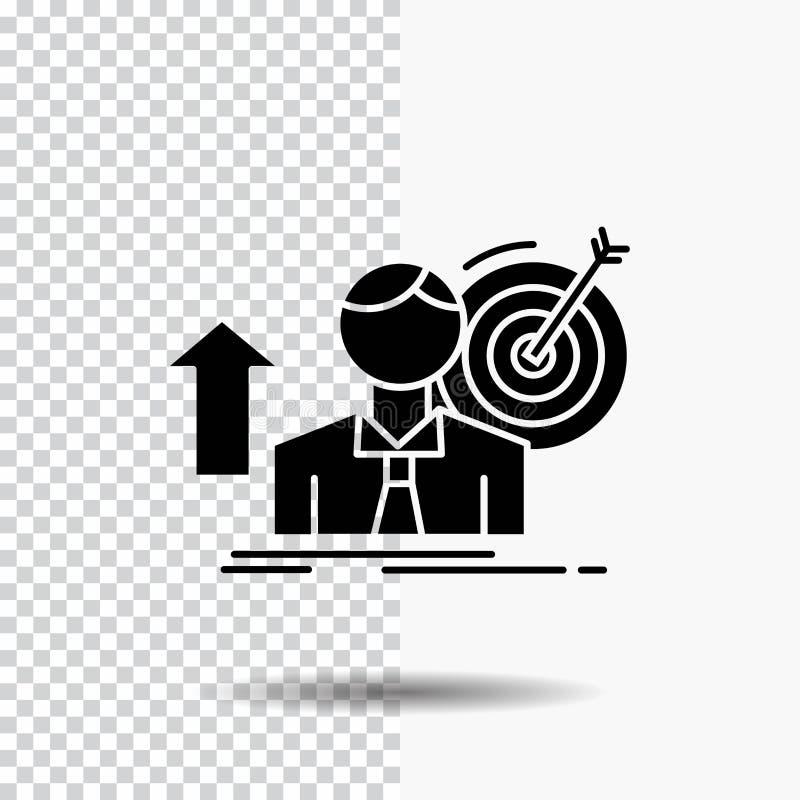 o sucesso, usuário, alvo, consegue, ícone do Glyph do crescimento no fundo transparente ?cone preto ilustração stock