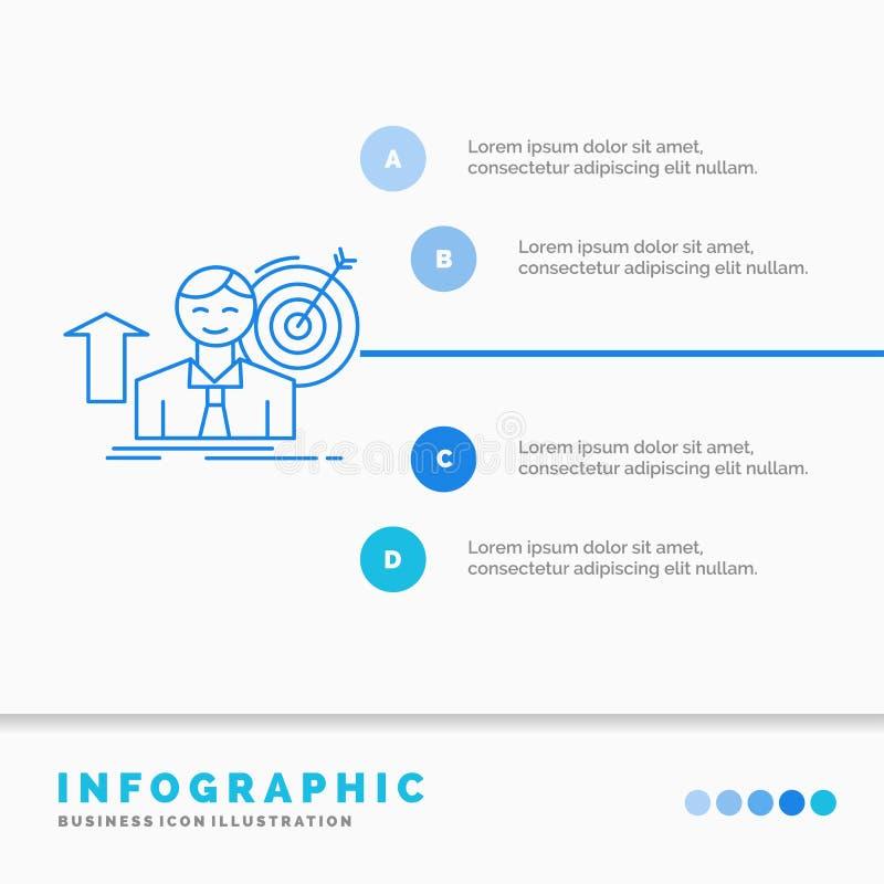 o sucesso, usu?rio, alvo, consegue, molde de Infographics do crescimento para o Web site e apresenta??o Linha vetor infographic d ilustração do vetor