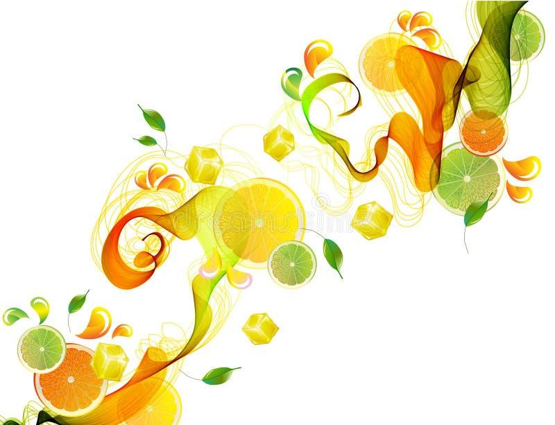 O suco da laranja e da lima espirra com a onda abstrata ilustração royalty free