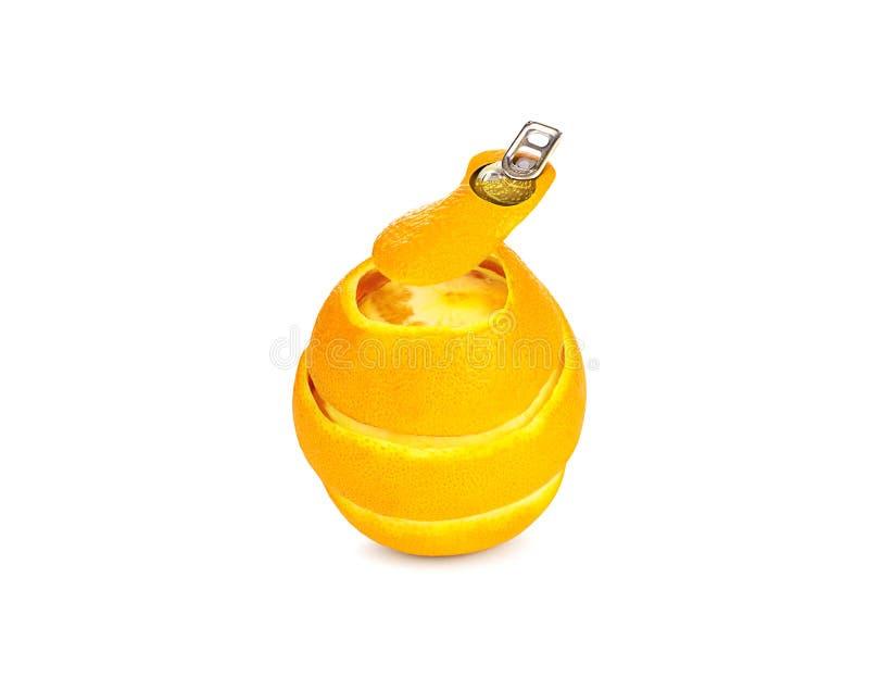 O suco de laranja fresco enlatou a imagem do conceito no fundo branco foto de stock royalty free