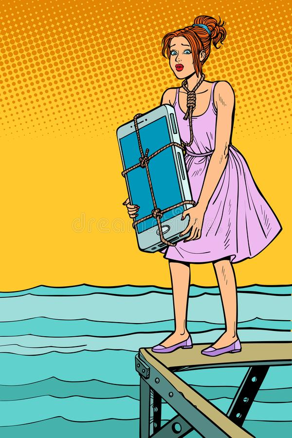 O suicídio da mulher com o smartphone no pescoço quer afogar-se ilustração do vetor