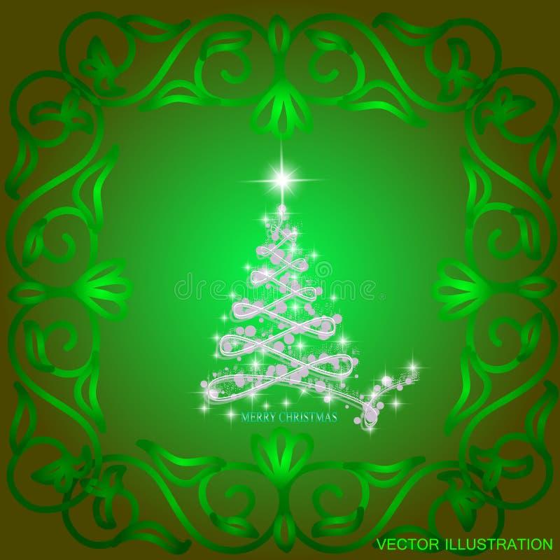 O sumário acena o fundo com árvore de Natal Ilustração em cores verdes e brancas ilustração royalty free