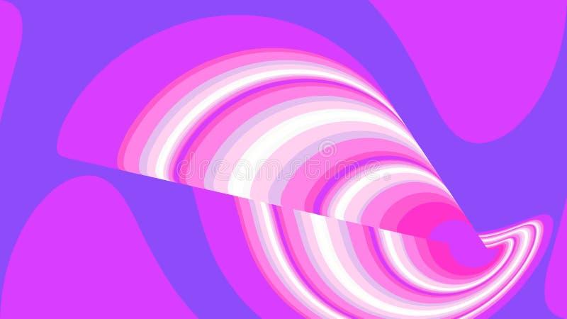 O sumário arredondado torceu a textura roxa incomum mágica listrada simples do espaço abstrato de linhas e de listras multi-color ilustração do vetor