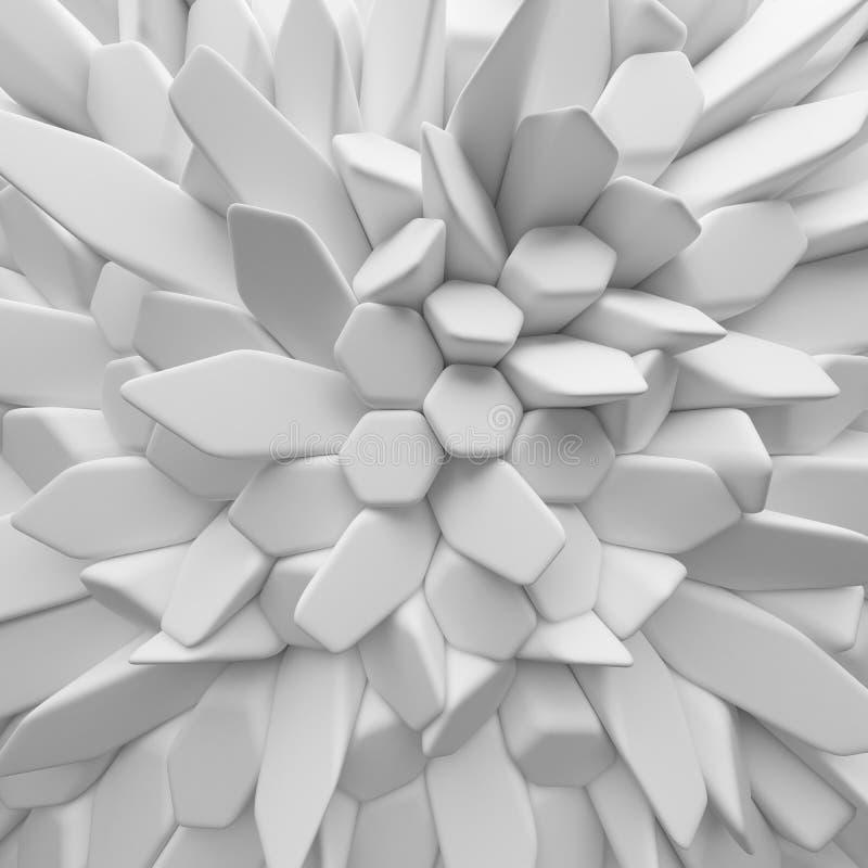 O sumário branco esquadra o contexto 3d que rende polígono geométricos ilustração stock