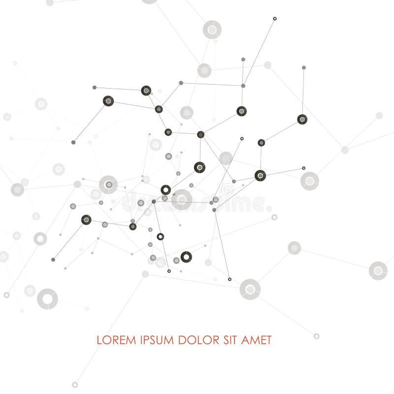 O sumário conecta o fundo com os pontos e as linhas estrutura da molécula Fundo da ciência do vetor Rede poligonal ilustração royalty free