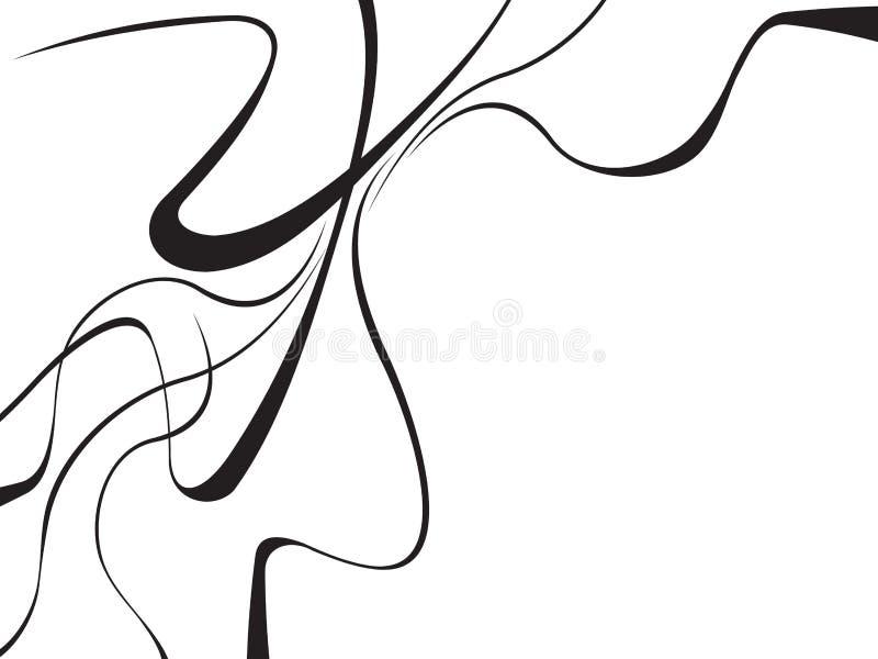 O sumário curvado acena o fundo preto e branco ilustração stock