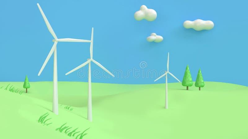 O sumário 3d do estilo dos desenhos animados do céu azul de monte verde da turbina eólica rende, conceito da terra das economias  imagem de stock