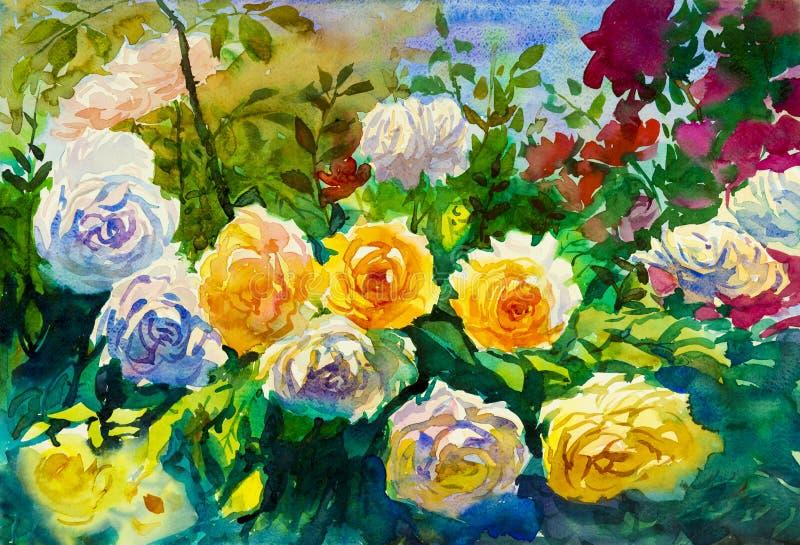 O sumário da arte da pintura floresce colorido original da paisagem da aquarela das rosas ilustração royalty free