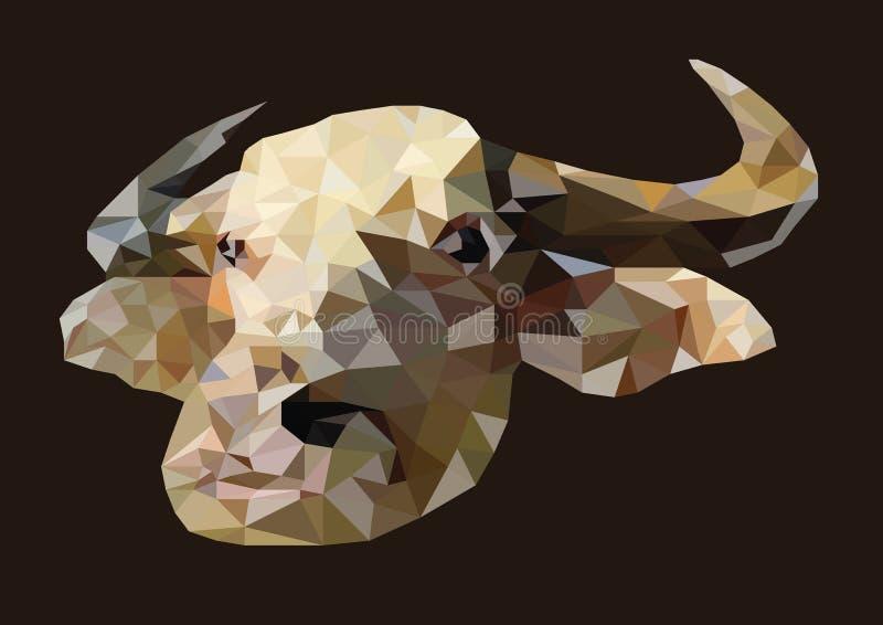 O sumário da cabeça do búfalo do albino disparou em baixo poli fotos de stock