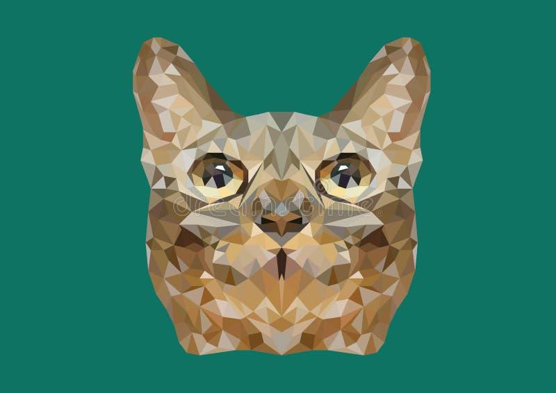 O sumário da cabeça do gato disparou no baixo vetor poli imagens de stock