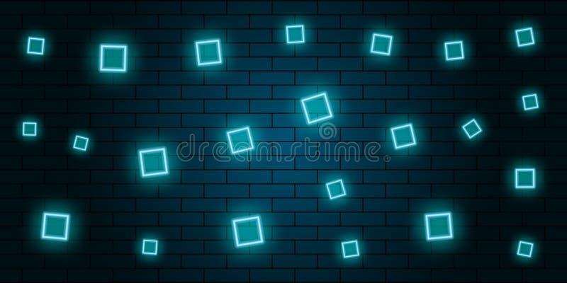 o sumário de néon esquadra o fundo azul ilustração do vetor