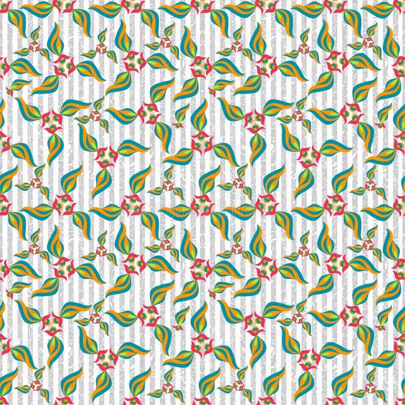 O sumário do efeito do grunge das pétalas da flor coloriu o fundo sem emenda do teste padrão ilustração stock