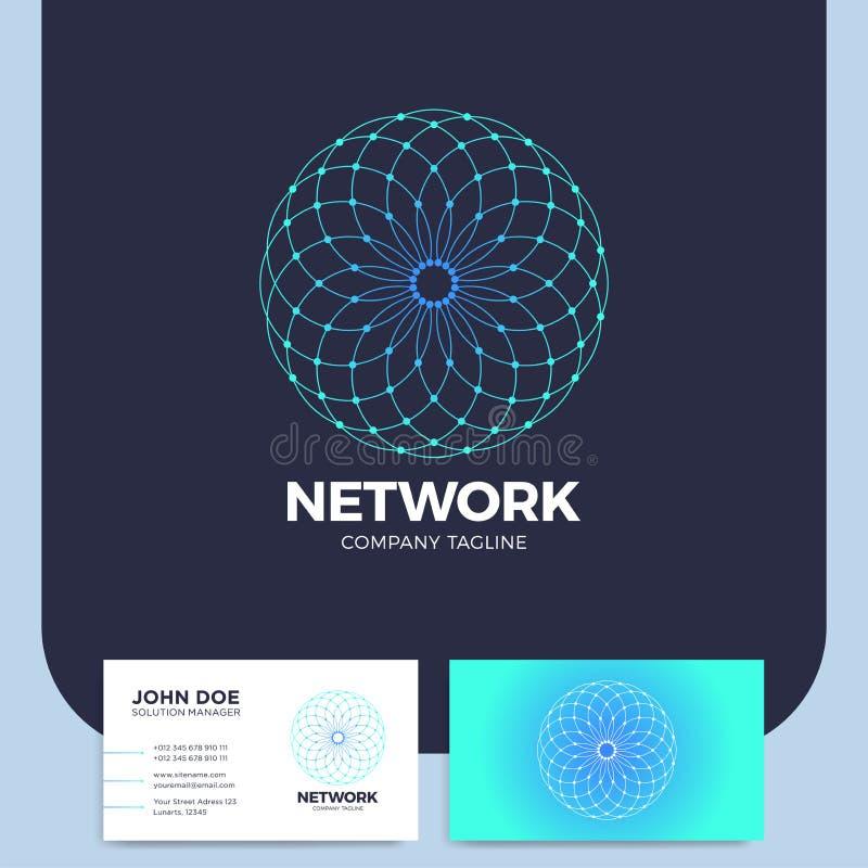 O sumário do neurônio pontilhou o logotipo da letra O do círculo ou o logotype da rede ilustração royalty free