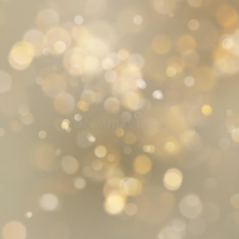 O sumário dourado do feriado do Natal brilha fundo defocused com bokeh borrado Eps 10 ilustração do vetor