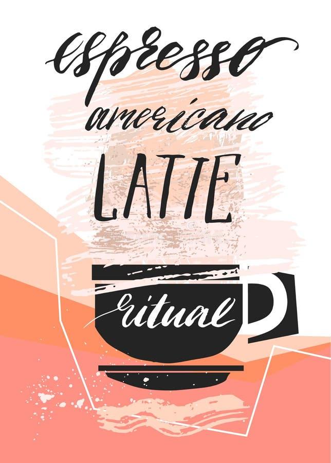 O sumário feito à mão do vetor textured a ilustração do copo de café e de café escrito à mão da fase da caligrafia, americano, la ilustração royalty free