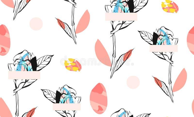 O sumário feito à mão textured a colagem criativa na moda teste padrão sem emenda com motivo floral no fundo branco com ilustração do vetor