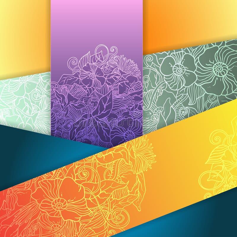 O sumário floral do vetor esquadra o fundo ilustração stock