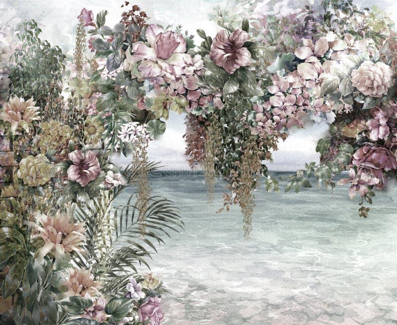 O sumário floresce a pintura da aquarela imagens de stock royalty free