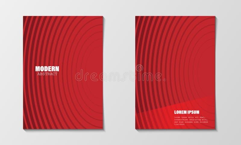 O sumário mínimo cobre o molde do projeto Linha vermelha moderna inclinações do círculo Folheto do perfil da empresa e informe an ilustração stock