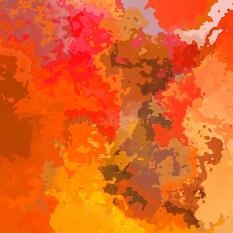 O sumário manchou cores alaranjadas do fundo sem emenda do teste padrão e vermelhas quentes - arte moderna da pintura - efeito da ilustração do vetor