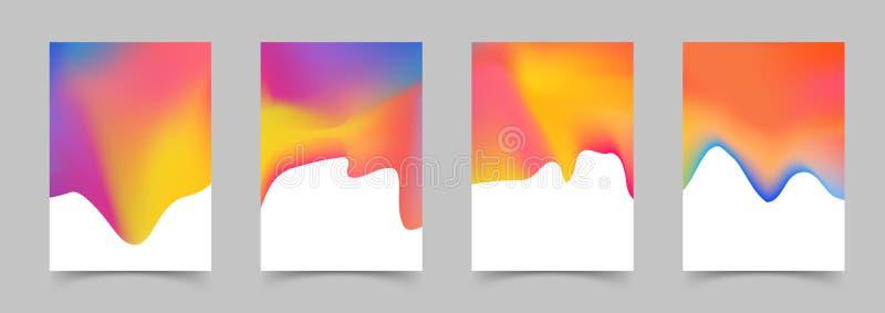 O sumário moderno dos moldes líquidos do cartaz da cor cobre a coleção ilustração stock