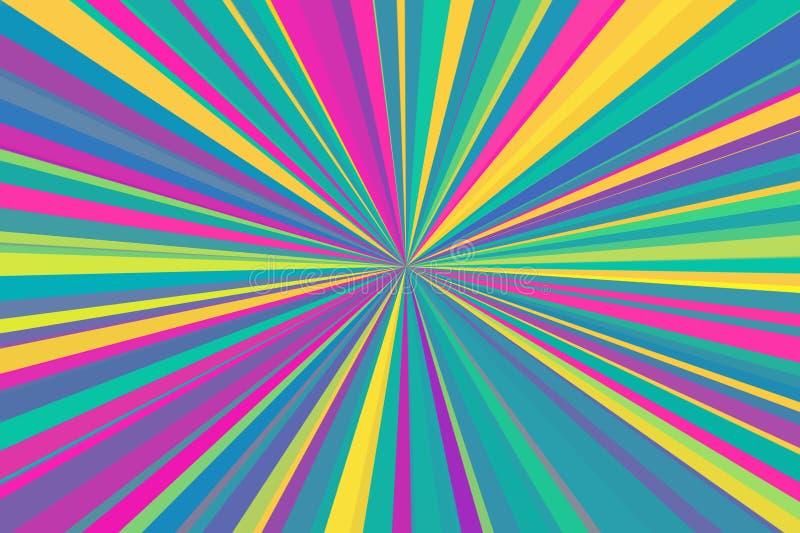 O sumário multicolorido irradia o fundo Teste padrão colorido do feixe das listras Cores modernas da tendência da ilustração à mo foto de stock royalty free