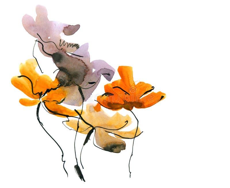 O sumário pintou o fundo floral ilustração do vetor