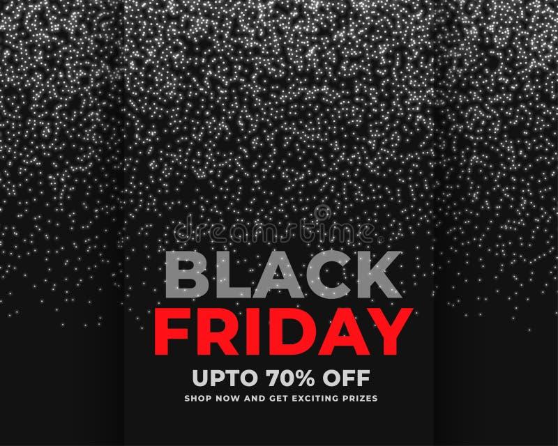 O sumário sparkles bandeira preta da venda de sexta-feira ilustração stock