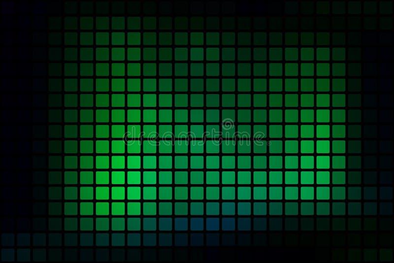 O sumário verde de néon de incandescência arredondou o fundo do mosaico sobre o preto ilustração royalty free