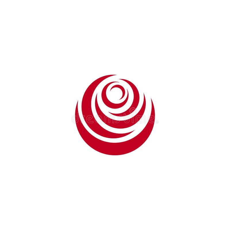 O sumário vermelho aumentou, molde do logotipo do vetor no fundo branco Ilustração à moda da flor, forma circular, projeto do arc ilustração royalty free