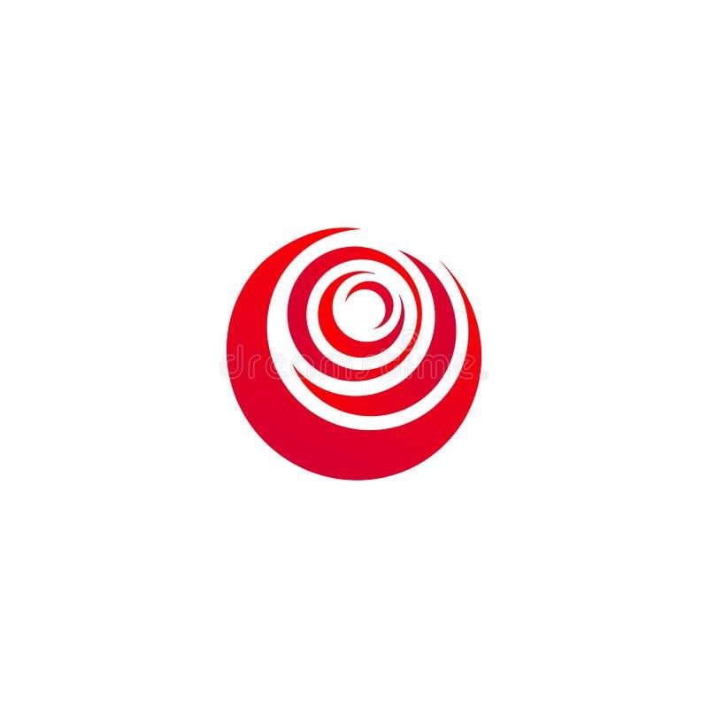 O sumário vermelho aumentou, molde do logotipo do vetor no fundo branco Ilustração à moda da flor, forma circular, projeto do arc ilustração do vetor