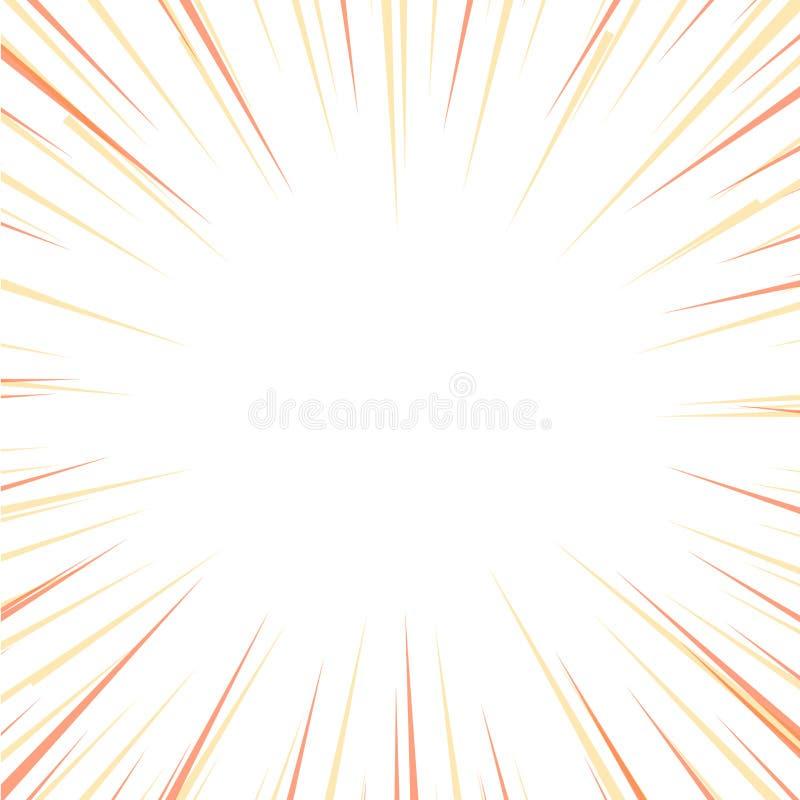 O Sunburst com cor pastel amarela e alaranjada para raios e feixes isolou-se Dois Tone Explosion com textura, profundidade, e ilustração royalty free