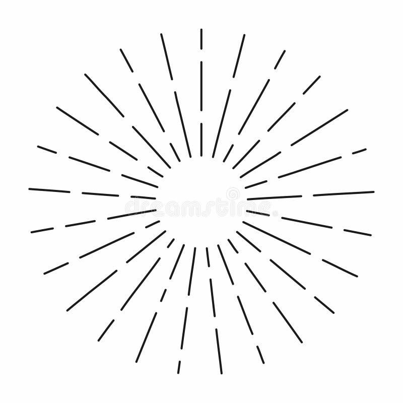 O sunburst do vintage nas linhas forma, radial linear estourou o sol retro para a cultura do moderno ilustração royalty free