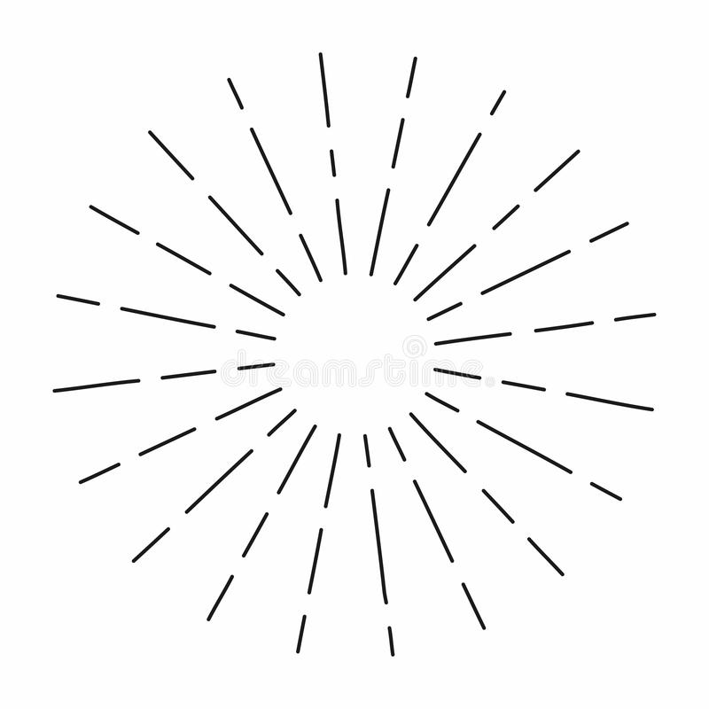 O sunburst do vintage nas linhas forma, radial linear estourou o sol retro para a cultura do moderno ilustração stock