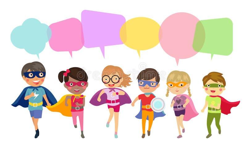 O super-herói caçoa meninos e desenhos animados das meninas Povos, caráter ilustração royalty free