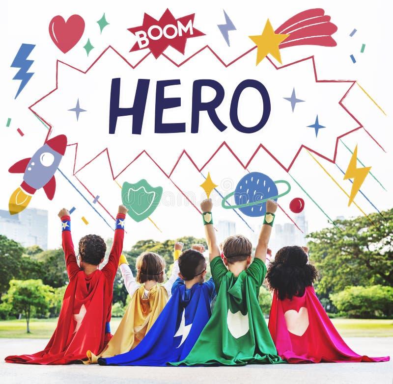 O super-herói caçoa o conceito do ajudante do poder da imaginação foto de stock