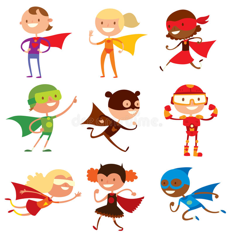 O super-herói caçoa o vetor dos desenhos animados dos meninos e das meninas ilustração stock