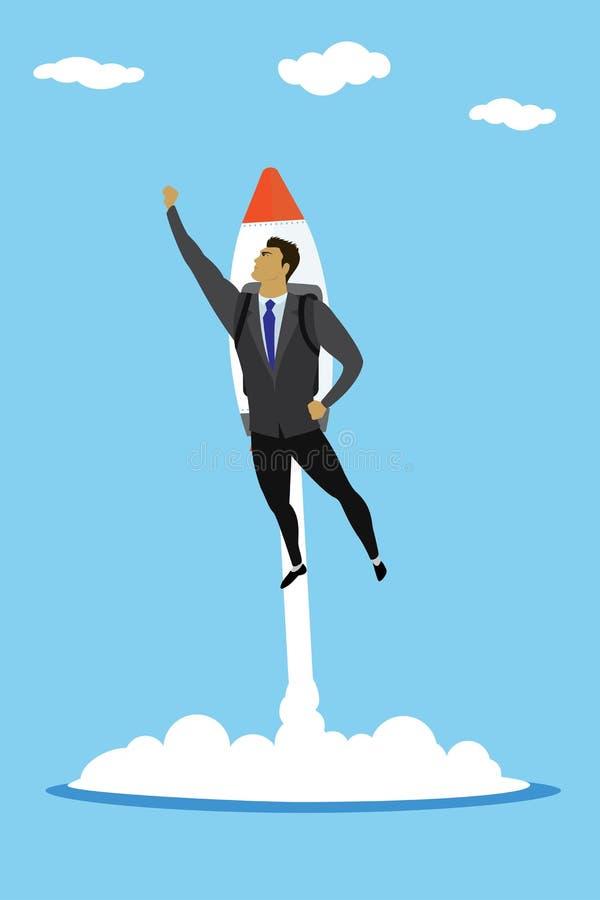 O super-herói com foguete, homem de negócios do negócio do sucesso decola a sagacidade ilustração royalty free