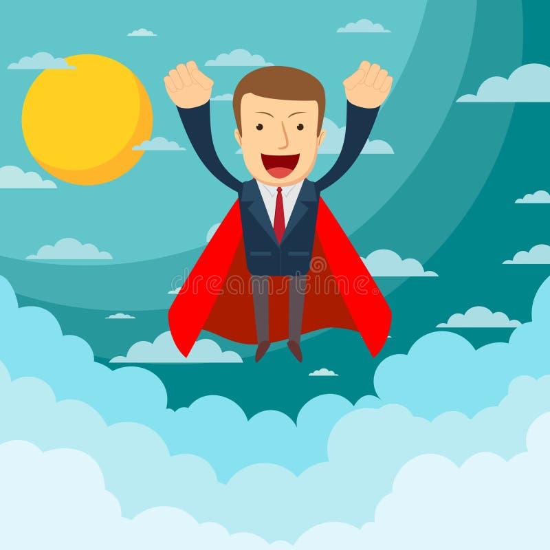 O super-herói do homem de negócios voa acima e deixa uma nuvem da ilustração lisa do vetor do estoque da poeira ilustração stock