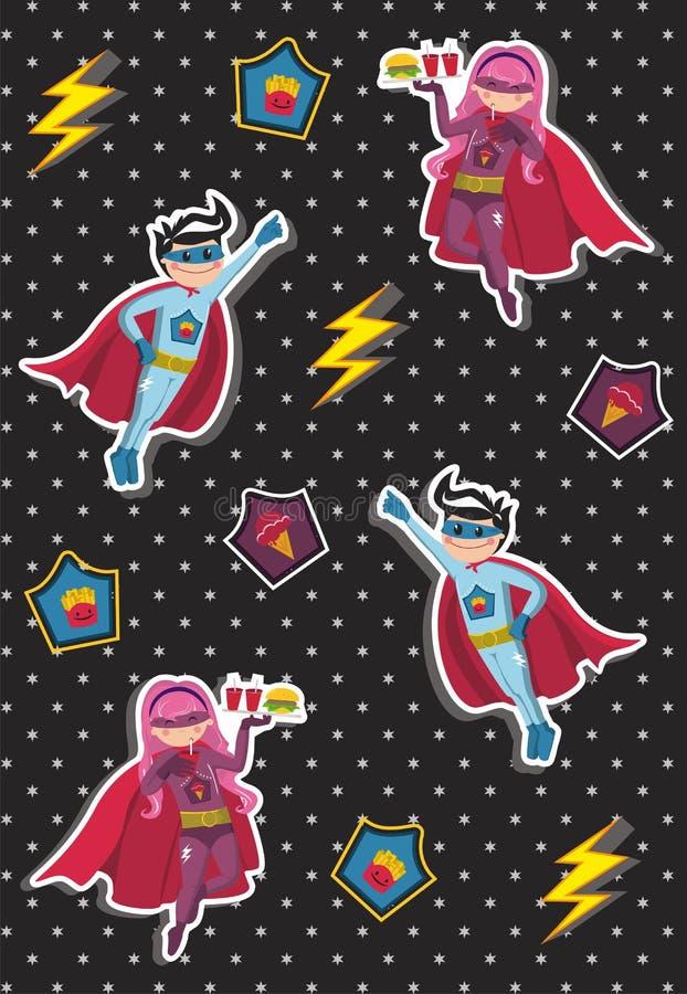 O super-herói dos desenhos animados caçoa o teste padrão ilustração royalty free