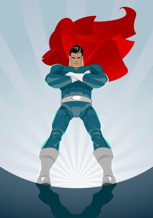 O super-herói está no fundo do nascer do sol ilustração royalty free