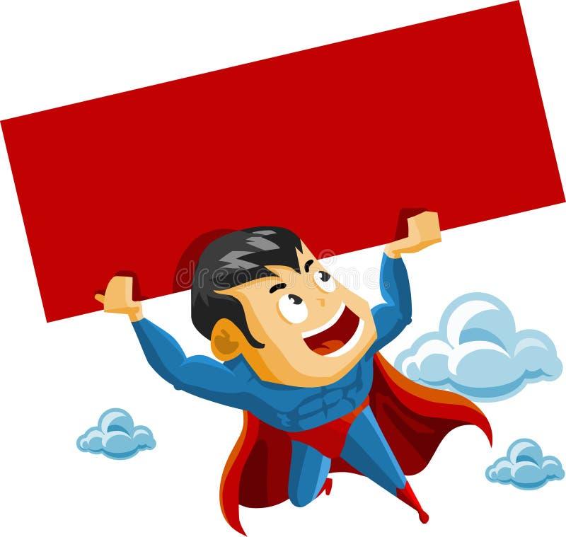 O super-herói levanta o sinal ilustração royalty free
